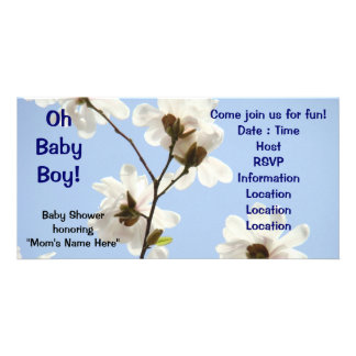 Oh Baby Boy! invitations Baby shower Magnolia Photo Greeting Card
