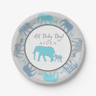 Oh Baby Boy Patterned Elephants Chevron Modern 7 Inch Paper Plate