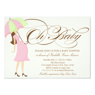 "Oh Baby | Brown Script 5"" X 7"" Invitation Card"