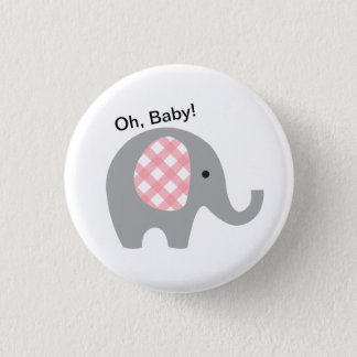 Oh, Baby! Button with Grey Elephant and Pink Ears