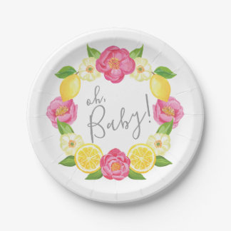 Oh Baby Citrus Lemon Floral Wreath Baby Shower Paper Plate