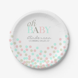Oh Baby Confetti Gender Reveal Party | Pink Blue Paper Plate