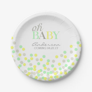 Oh Baby Confetti Gender Reveal Party | Yellow Aqua Paper Plate