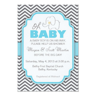 Oh Baby Elephant - Blue & Grey Baby Shower Invite