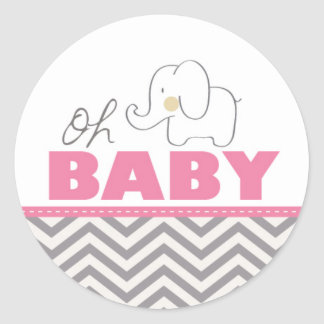 Oh Baby Elephant - Pink Baby Shower Invite Sticker