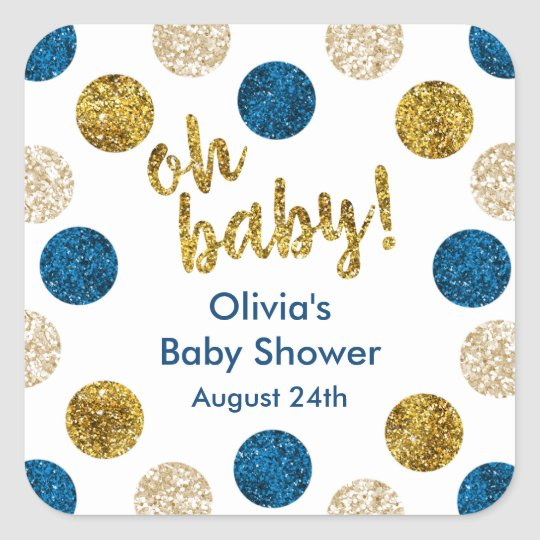 Oh Baby Favour Tag, Navy and Gold Glitter Square Sticker