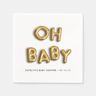 Oh Baby | Gold Balloon Baby Shower Paper Napkins