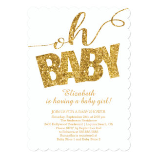 Oh Baby!  Gold Glitter Baby Shower Invitation