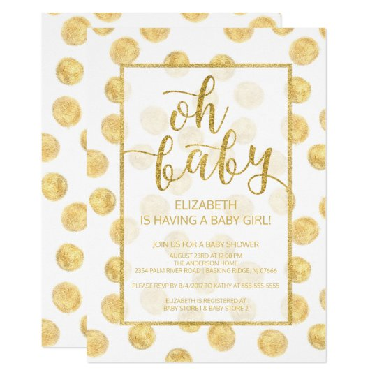 Oh Baby! Gold Polka Dots Baby Shower Invitation