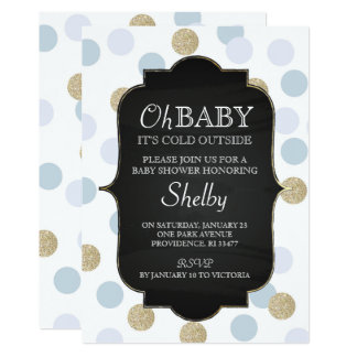 """Oh Baby It's Cold Outside Blue Polka Dots 5"""" X 7"""" Invitation Card"""