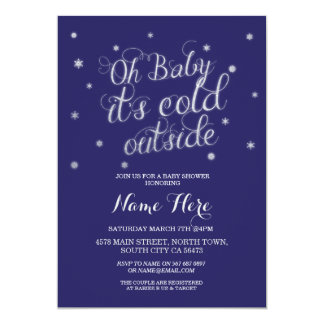 Oh Baby It's Cold Outside Navy Star Invitation