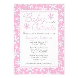 """Oh Baby It's Cold Outside Pink Baby Shower 5"""" X 7"""" Invitation Card"""
