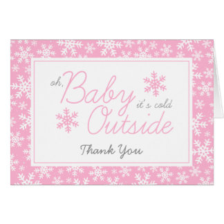 Oh Baby It's Cold Outside Pink Thank You Note Card