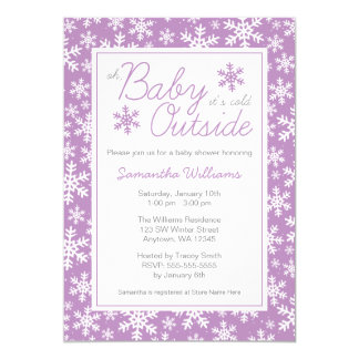 """Oh Baby It's Cold Outside Purple Baby Shower 5"""" X 7"""" Invitation Card"""