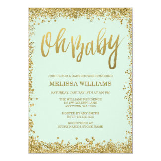 """Oh Baby Mint Gold Glitter Baby Shower 5"""" X 7"""" Invitation Card"""