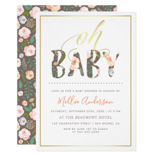 Oh Baby | Modern White & Gold Floral Baby Shower Card