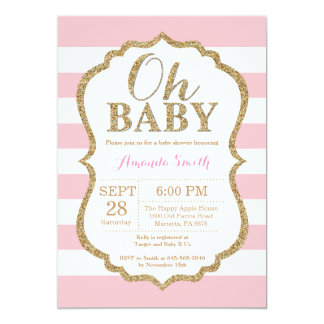 Oh Baby Pink and Gold Baby Shower Invitation