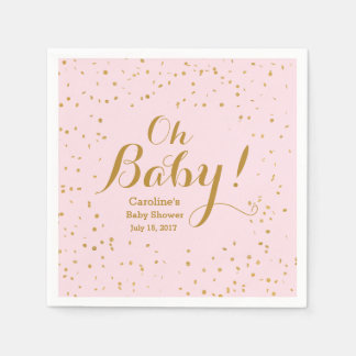 Oh Baby! Pink & Gold Confetti Baby Shower Napkins