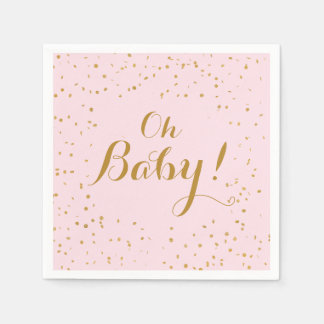 Oh Baby! Pink & Gold Confetti Napkins Paper Napkin