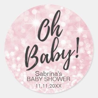OH BABY! Pink Sparkle Glitter Baby Shower Girl Classic Round Sticker