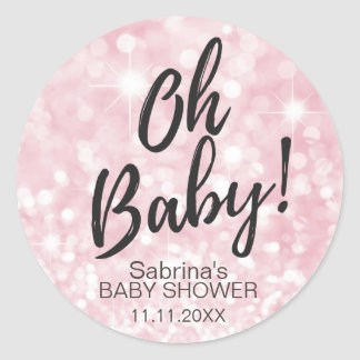 OH BABY! Pink Sparkle Glitter Baby Shower Girl Round Sticker