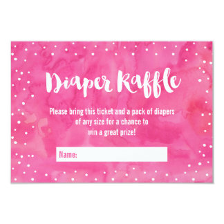 Oh Baby Pink Watercolor Baby Shower Diaper Raffle Card
