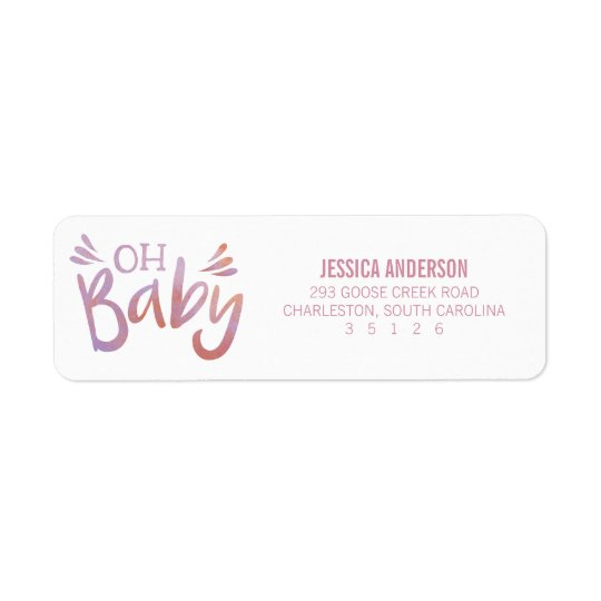 """""""Oh Baby"""" Pink Watercolor Baby Shower Return Address Label"""