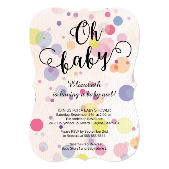 Oh Baby! Polka Dots Neutral Baby Shower Invitation