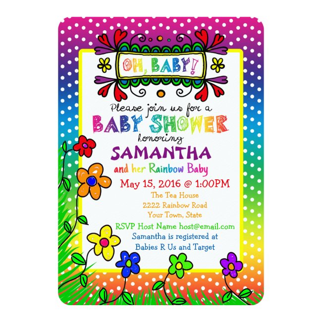 Oh, Baby! Rainbow Baby Shower Invitation