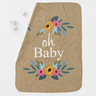 Oh Baby! Rustic Kraft Floral Wreath Baby Blanket