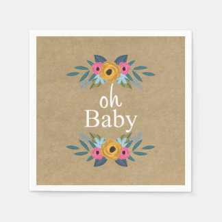 Oh Baby! Rustic Kraft Floral Wreath Baby Shower Napkin