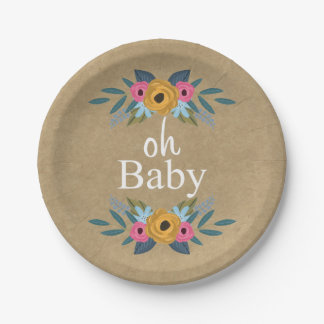 Oh Baby! Rustic Kraft Floral Wreath Baby Shower Paper Plate