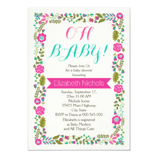 Oh Baby shower aqua, pink modern floral border Card