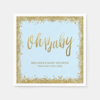 Oh baby shower de scintillement d'or de bleus serviettes jetables