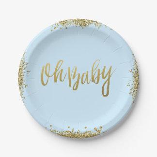 Oh baby shower de scintillement d'or de Faux de Assiette En Papier 17,8 Cm