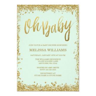 Oh baby shower en bon état de scintillement d'or carton d'invitation  12,7 cm x 17,78 cm
