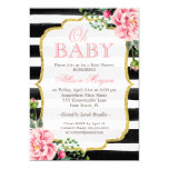 "Oh Baby Shower Floral Gold Black White Stripes 5"" X 7"" Invitation Card"