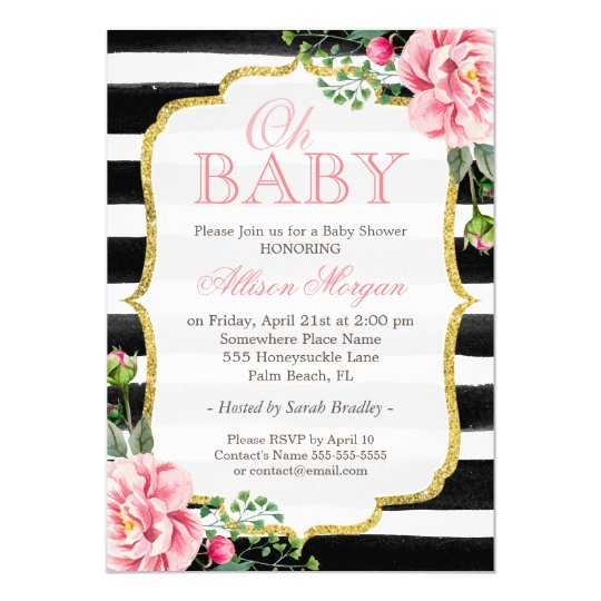 black white baby girl shower invitations & announcements | zazzle, Baby shower invitations