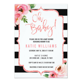Oh Baby Shower Floral Pink Striped Invitation