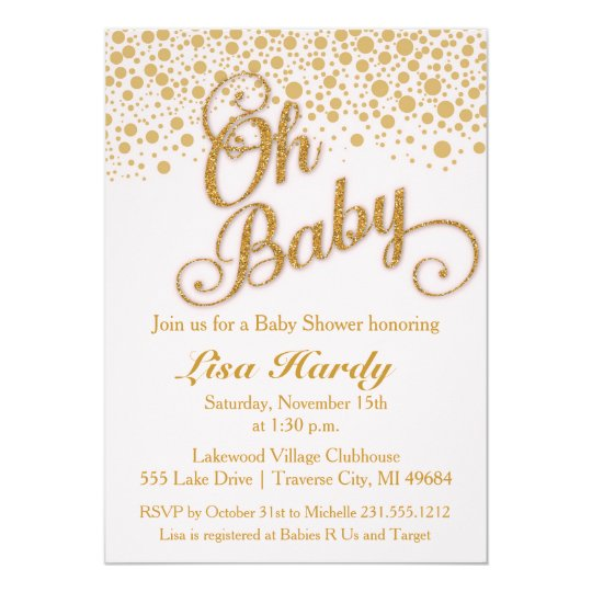 Oh Baby Shower Invitation | Blush Pink and Gold