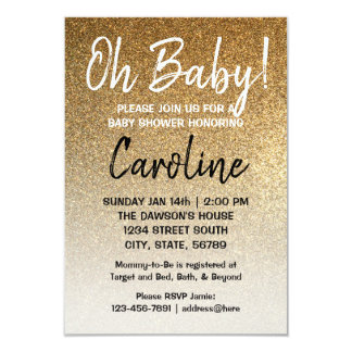 Oh baby! shower invitation gold faux glitter