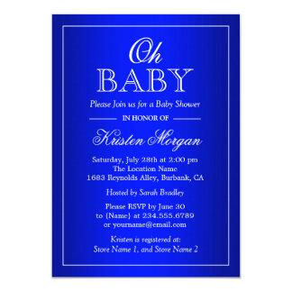 Oh Baby Shower Modern Stylish Simple Royal Blue Card