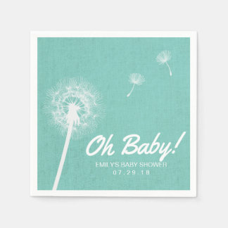 Oh Baby Turquoise Blowing Dandelion Baby Shower Disposable Napkin