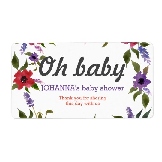 Oh Baby Watercolor Flowers Water Bottle Favour