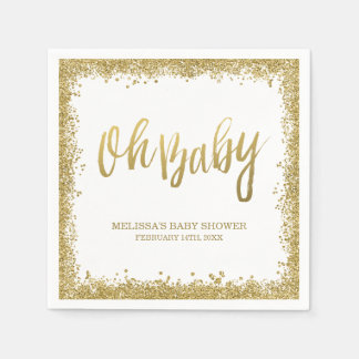 Oh Baby White Gold Faux Glitter Baby Shower Paper Napkins