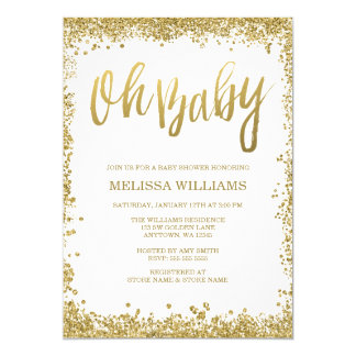 "Oh Baby White Gold Glitter Baby Shower 5"" X 7"" Invitation Card"