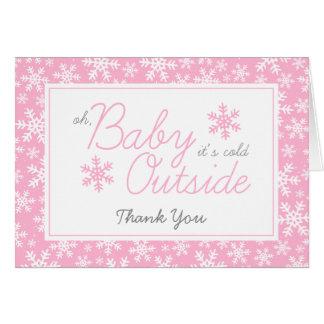 Oh bébé c'est Merci rose extérieur froid Carte De Correspondance