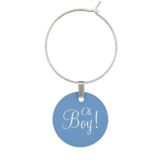 Oh Boy Baby Shower Announcement Wine Charms