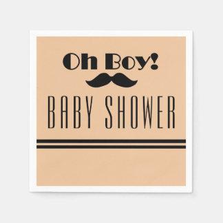 Oh Boy Black Mustache Baby Shower Disposable Napkin