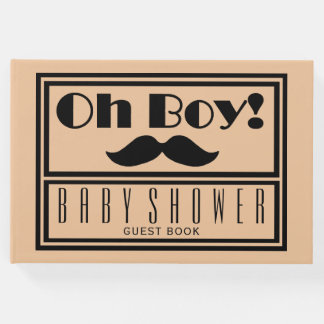 Oh Boy Black Mustache Baby Shower Guest Book